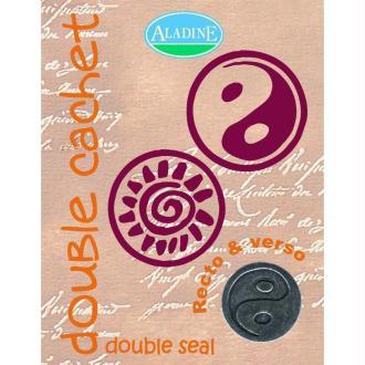 Cachet double yin yang & soleil spirale 2 cm