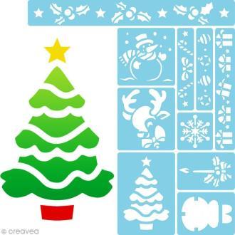Pochoir enfant Noël - Set de 10 pochoirs
