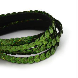 5m de Cordon Suedine Sequin Vert  6mm - Création Bijoux-