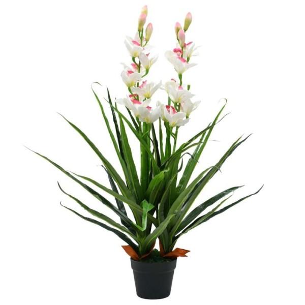 Vidaxl Plante Artificielle Orchidée Cymbidium Avec Pot 100 Cm Vert - Photo n°1