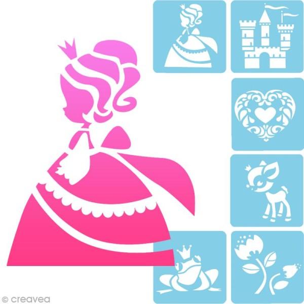 Pochoir enfant Princesses - Set de 6 pochoirs - Photo n°1