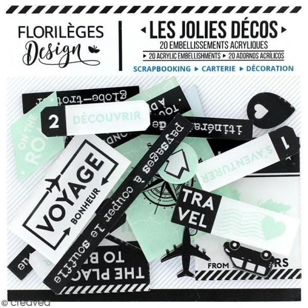 Embellissements acrylique Florilèges Design - Invitation au voyage - 20 pcs - Photo n°1