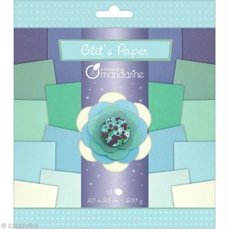 Papiers Glit's Paper - Camaieu bleu - 18 papiers 20 x 20 cm