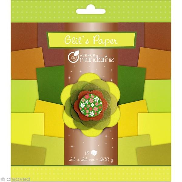 Papiers Glit's Paper - Camaieu vert / marron - 18 papiers 20 x 20 cm - Photo n°1