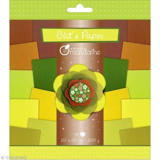 Papiers Glit's Paper - Camaieu vert / marron - 18 papiers 20 x 20 cm