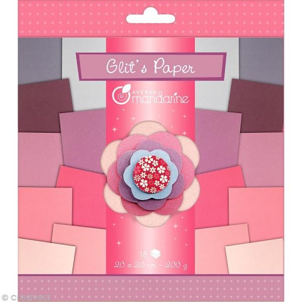 Papiers Glit's Paper - Camaieu violet / rose - 18 papiers 20 x 20 cm - Photo n°1