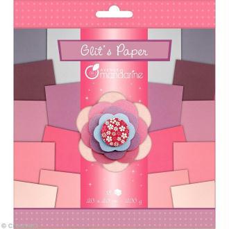 Papiers Glit's Paper - Camaieu violet / rose - 18 papiers 20 x 20 cm