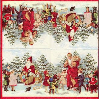 4 Serviettes en papier Père Noël Victorien Vintage Format Cocktail