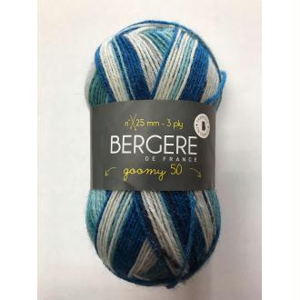 Laine goomy 50 bergère de france coloris imprim marin 10170 laine à chaussette bleu vert beige
