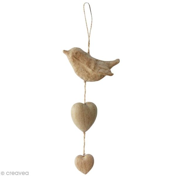 Coeurs et oiseau à suspendre en papier mâché - Photo n°1