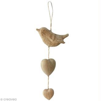 Coeurs et oiseau à suspendre en papier mâché