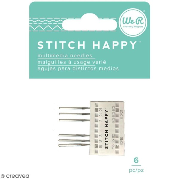 Aiguilles pour machine à coudre Stitch Happy - n 18 et 21 - 6 pcs - Photo n°1