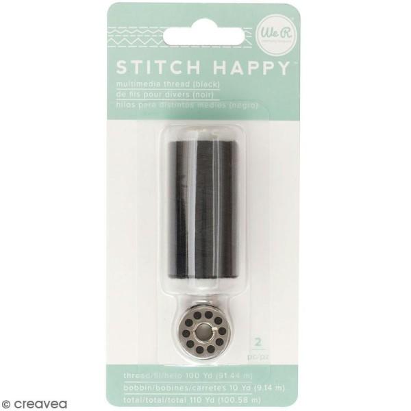 Bobine de fil et cannette pour machine à coudre Stitch Happy - 100 m - Noir - Photo n°1