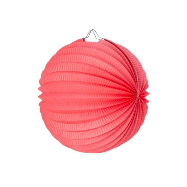 Lampion boule de 20 cm, Papier accordéon Rouge Corail à suspendre pour une déco printanière - Photo n°1