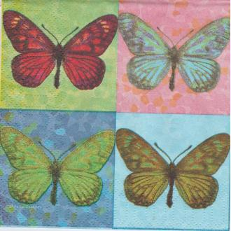 4 Serviettes en papier Pop Art Papillon Format Cocktail
