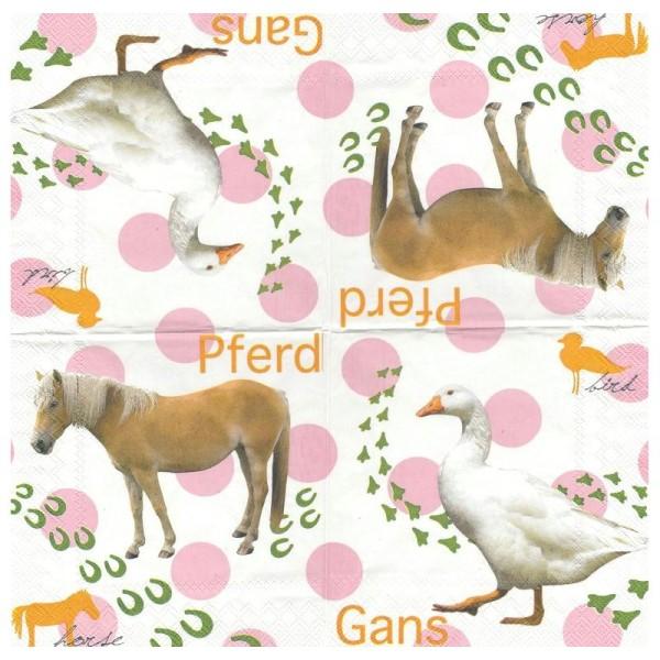 4 Serviettes en papier Cheval Oie Format Lunch - Photo n°1
