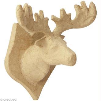 Tête d'Élan en papier mâché - 13 cm