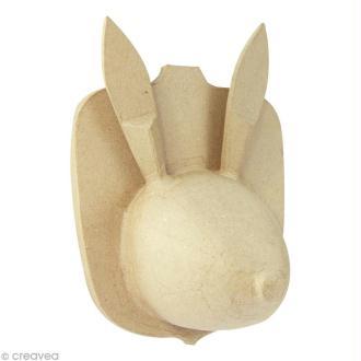 Tête de Lièvre en papier mâché - 17 cm