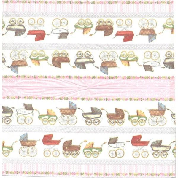 4 Serviettes en papier Naissance Landau Format Lunch - Photo n°2