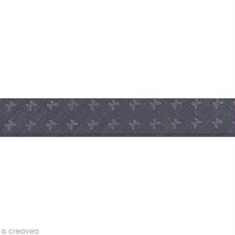 Biais batiste France Duval Stalla - 2 cm - Orageux papillons gris - au mètre (sur mesure)