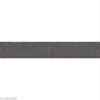 Biais batiste France Duval Stalla - 2 cm - Gris étoiles dorées - au mètre (sur mesure)
