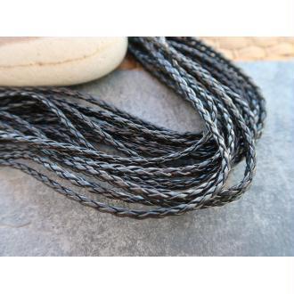 Cordon noir tréssé simili cuir, Cordelette noire, vendu au mètre, 3 mm