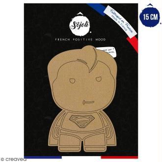 Forme en bois à décorer - Super homme - 15 cm - Collection Super Héros