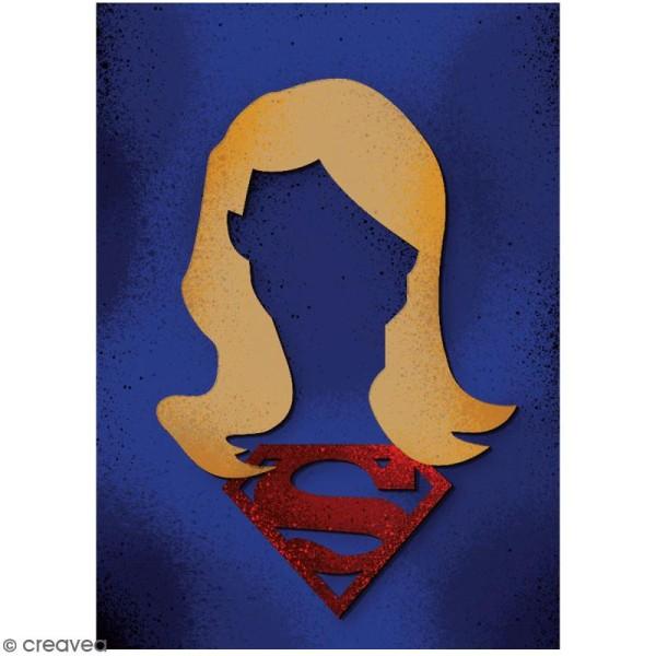 Portrait A4 en bois à décorer - Super fille - 21 x 29,7 cm - Collection Super Héros - Photo n°2