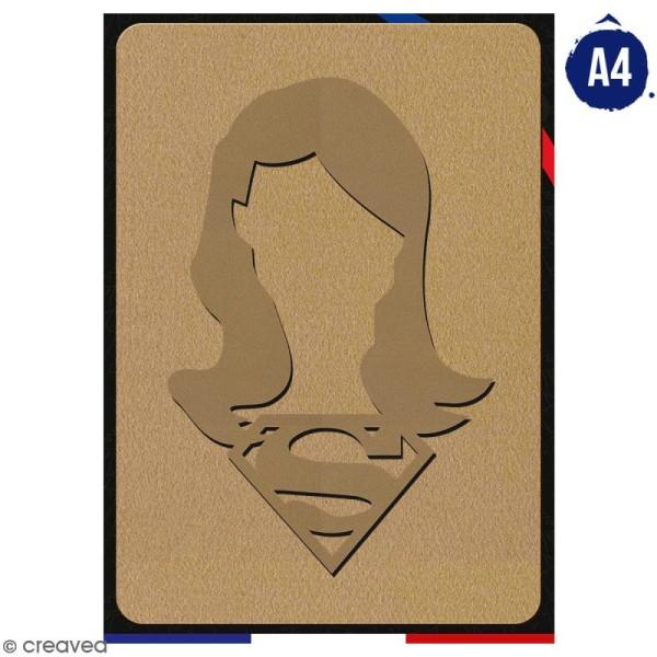 Portrait A4 en bois à décorer - Super fille - 21 x 29,7 cm - Collection Super Héros - Photo n°1