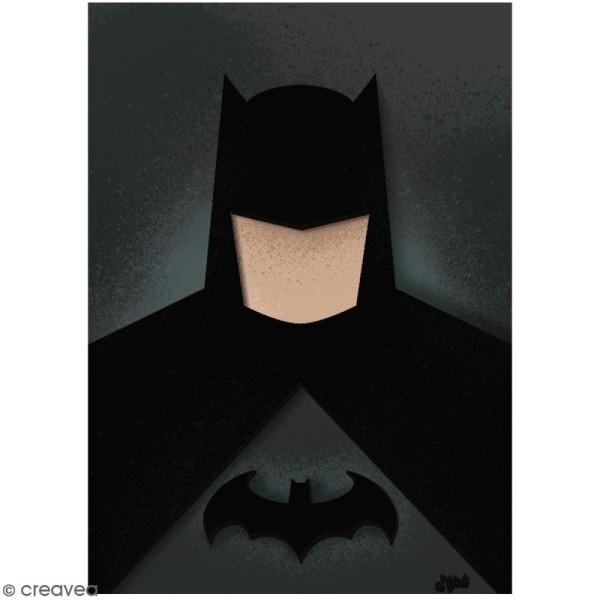 Portrait A4 en bois à décorer - Homme chauve-souris - 21 x 29,7 cm - Collection Super Héros - Photo n°2