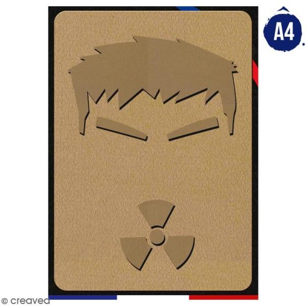 Portrait A4 en bois à décorer - Homme vert - 21 x 29,7 cm - Collection Super Héros - Photo n°1