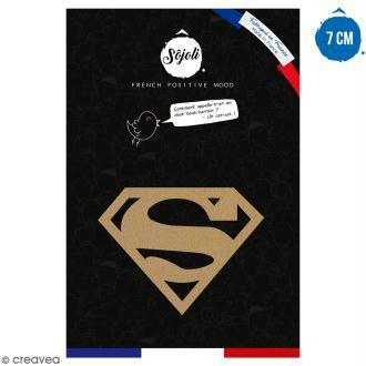 Forme en bois à décorer - Logo Super homme - 7 cm - Collection Super Héros