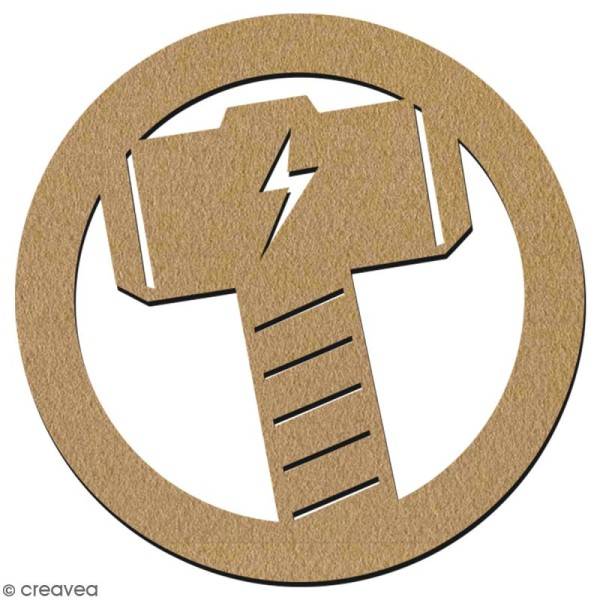 Forme en bois à décorer - Logo Marteau - 7 cm - Collection Super Héros - Photo n°2