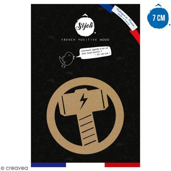 Forme en bois à décorer - Logo Marteau - 7 cm - Collection Super Héros - Photo n°1