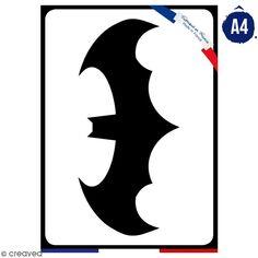 Pochoir multiusage A4 - Logo Homme chauve-souris - Collection Super Héros