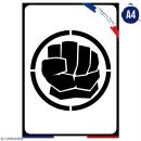 Pochoir multiusage A4 - Logo Homme vert - Collection Super Héros