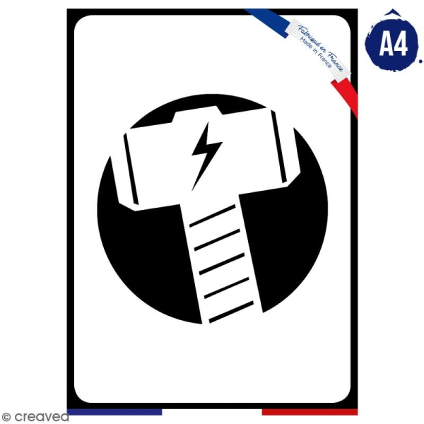 Pochoir multiusage A4 - Logo Marteau - Collection Super Héros - Photo n°1