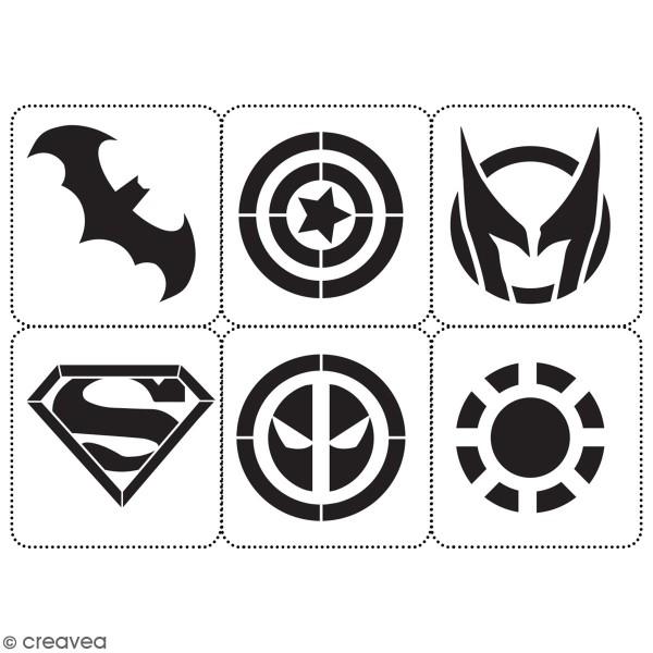 Planche de pochoirs multiusage A4 - Logos 1 - Collection Super Héros - 6 Motifs - Photo n°3