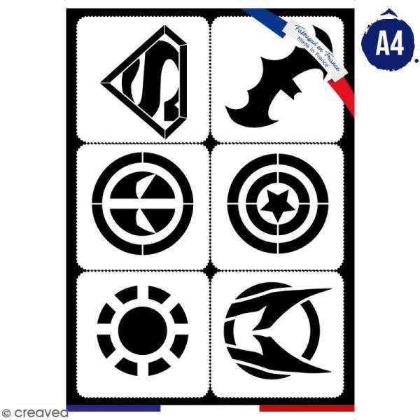 Planche de pochoirs multiusage A4 - Logos 1 - Collection Super Héros - 6 Motifs - Photo n°1