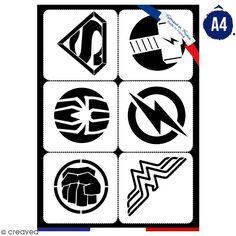 Planche de pochoirs multiusage A4 - Logos 2 - Collection Super Héros - 6 Motifs