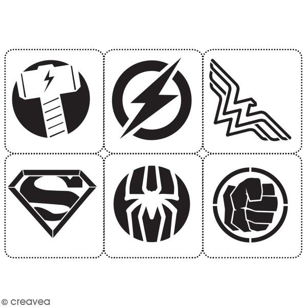 Planche de pochoirs multiusage A4 - Logos 2 - Collection Super Héros - 6 Motifs - Photo n°3