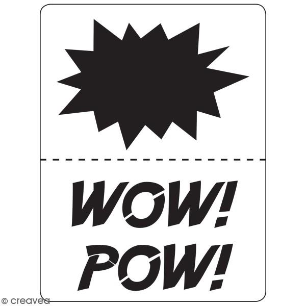 Planche de pochoirs multiusage A4 - Onomatopées Pow, Wow - Collection Super Héros - 3 Motifs - Photo n°3