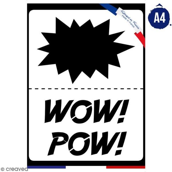 Planche de pochoirs multiusage A4 - Onomatopées Pow, Wow - Collection Super Héros - 3 Motifs - Photo n°1