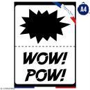 Planche de pochoirs multiusage A4 - Onomatopées Pow, Wow - Collection Super Héros - 3 Motifs