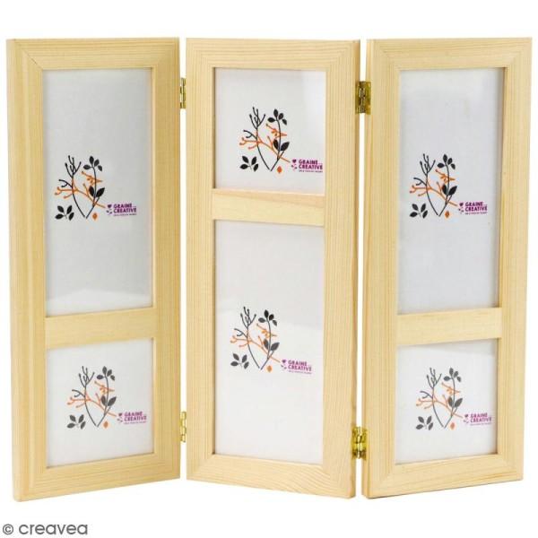 Cadre photo triptyque en bois à décorer - 32 x 26 x 1 cm - Photo n°1