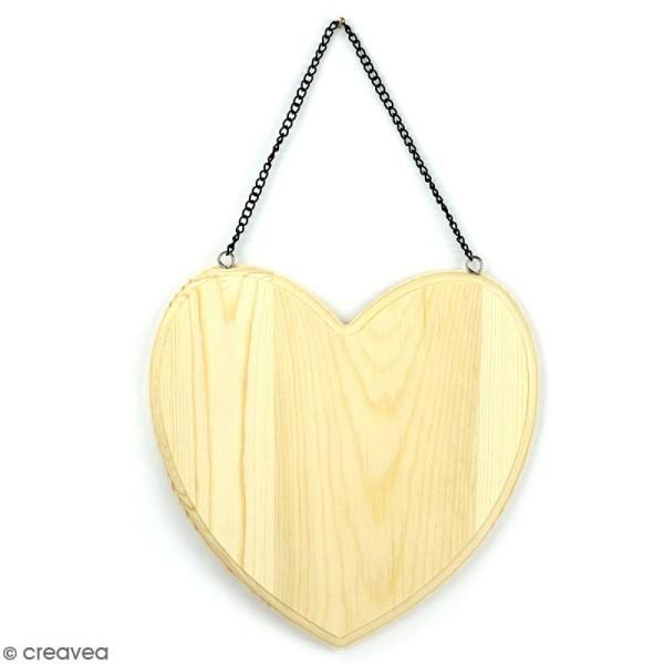 Suspension coeur en bois à décorer - 19 x 19 cm - Photo n°1