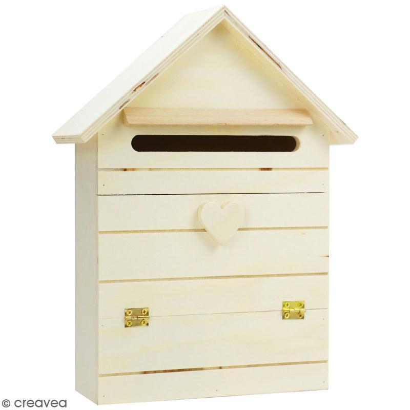 boite aux lettres en bois d corer 22 x 29 cm objets divers d corer creavea. Black Bedroom Furniture Sets. Home Design Ideas