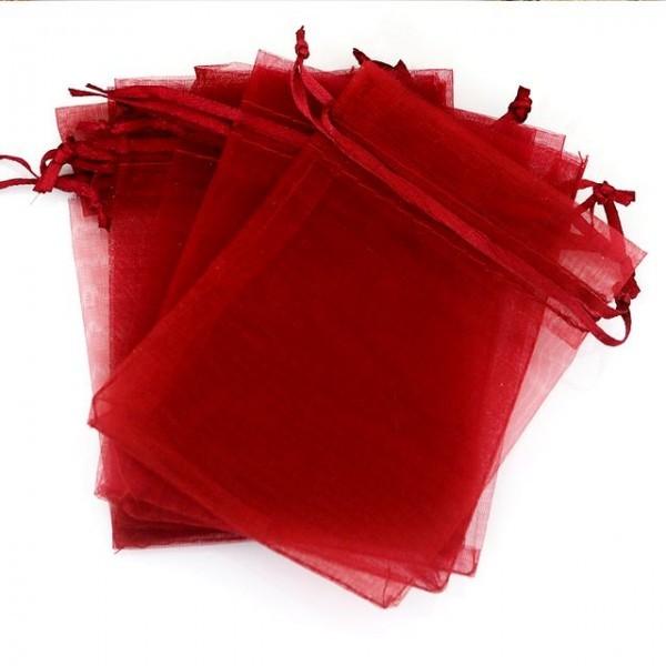 10 pochettes organza Rouge foncé ( 5cm par 7cm ) - Photo n°1