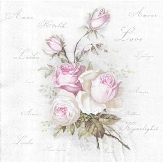 4 Serviettes en papier Bouquet de Roses anglaises Format Diner