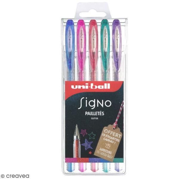 Assortiment de stylos gel Uni-Ball Signo - Multicolore pailletés - 5 pcs - Photo n°1